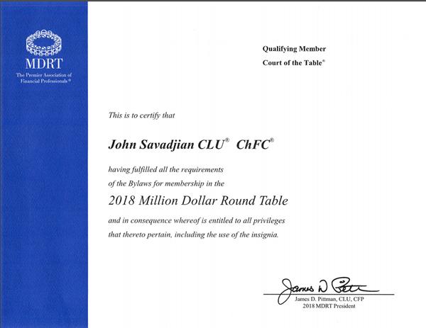 john savadjian million dollar round table member 2018